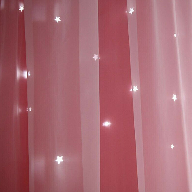 1x2m Window Tulle curtains for living room bedroom Blackout curtains Hollow curtain Nordic star ins princess wind curtain Pink 4