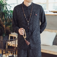 Traditional Chinese Style Men Tang Coat Solid Mandarin Collar Long Sleeve Cotton Linen Casual Kung Fu Jackets Clothes 4XL