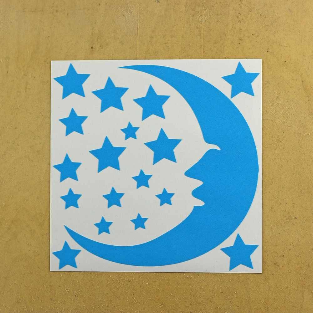 الأزرق ضوء ملصق تحويل الوهج في الظلام الكرتون القط ملصقا الجدار الديكور ملصقات مضيئة الفلورسنت الجنية القمر نجوم الشارات