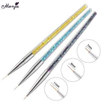 Monja 3pcs/set 7/9/11mm Nail Art Acrylic French Painting Brush Flower Design Stripes Lines Liner DIY Drawing Pen Manicure Tools