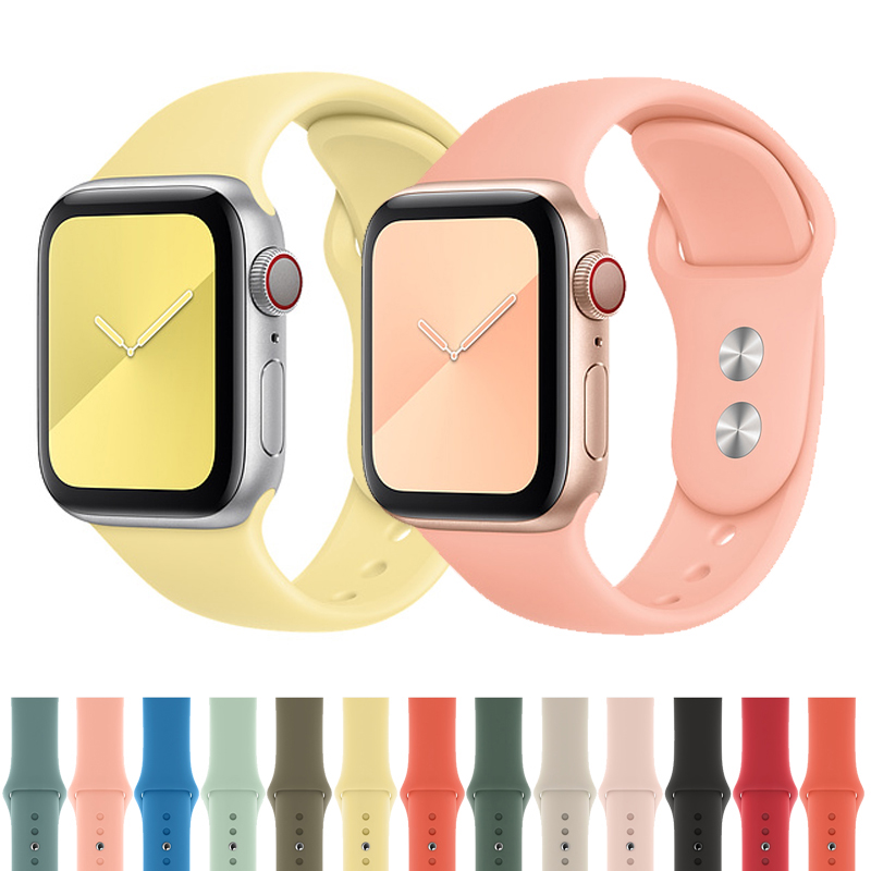 Strap For Apple Watch Band 38mm 42mm Sport Silicone Watchband Iwatch 44mm 40mm Bracelet Belt For Apple Watch Series 5 4 3 2 1