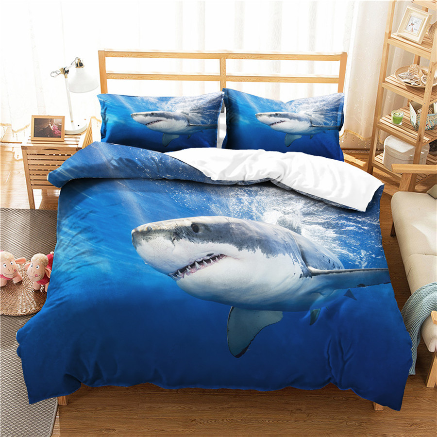 A Bedding Set 3D Printed Duvet Cover Bed Set Sea Shark Home Textiles for Adults Bedclothes with Pillowcase #SY29