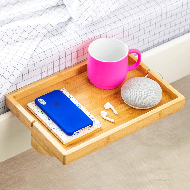Bedside Table Bed Side Shelf Tray Nightstand Bedroom Furniture Projector Laptop Stand Phone Snack Table Fit Laptop Book Drink