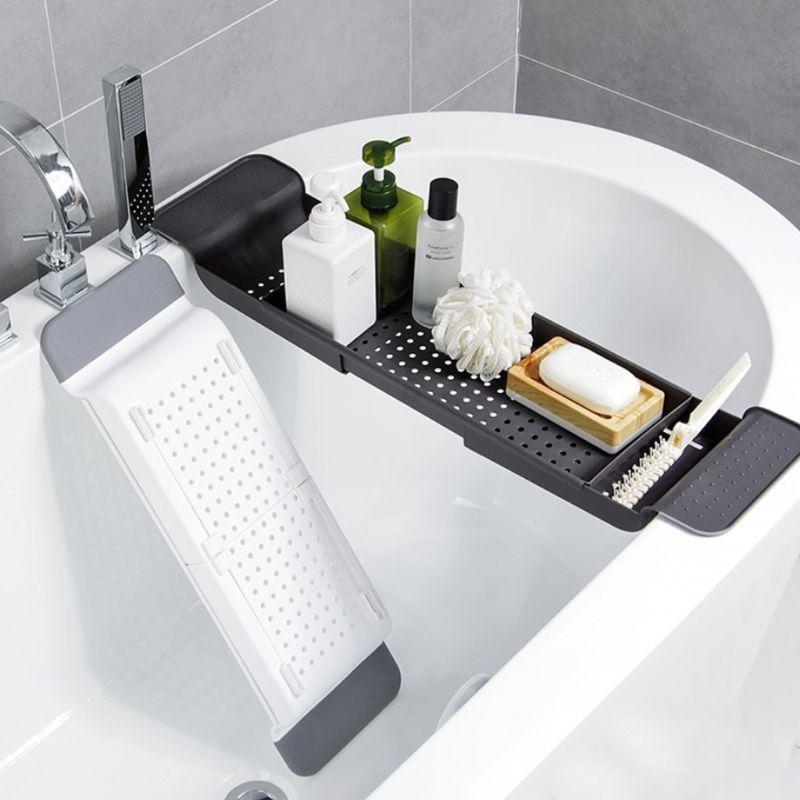 Tub Bathtub Shelf Caddy Shower Expandable Holder Rack Storage Tray Over Bath Multifunctional Organizer For Bathroom Shower  X4YD