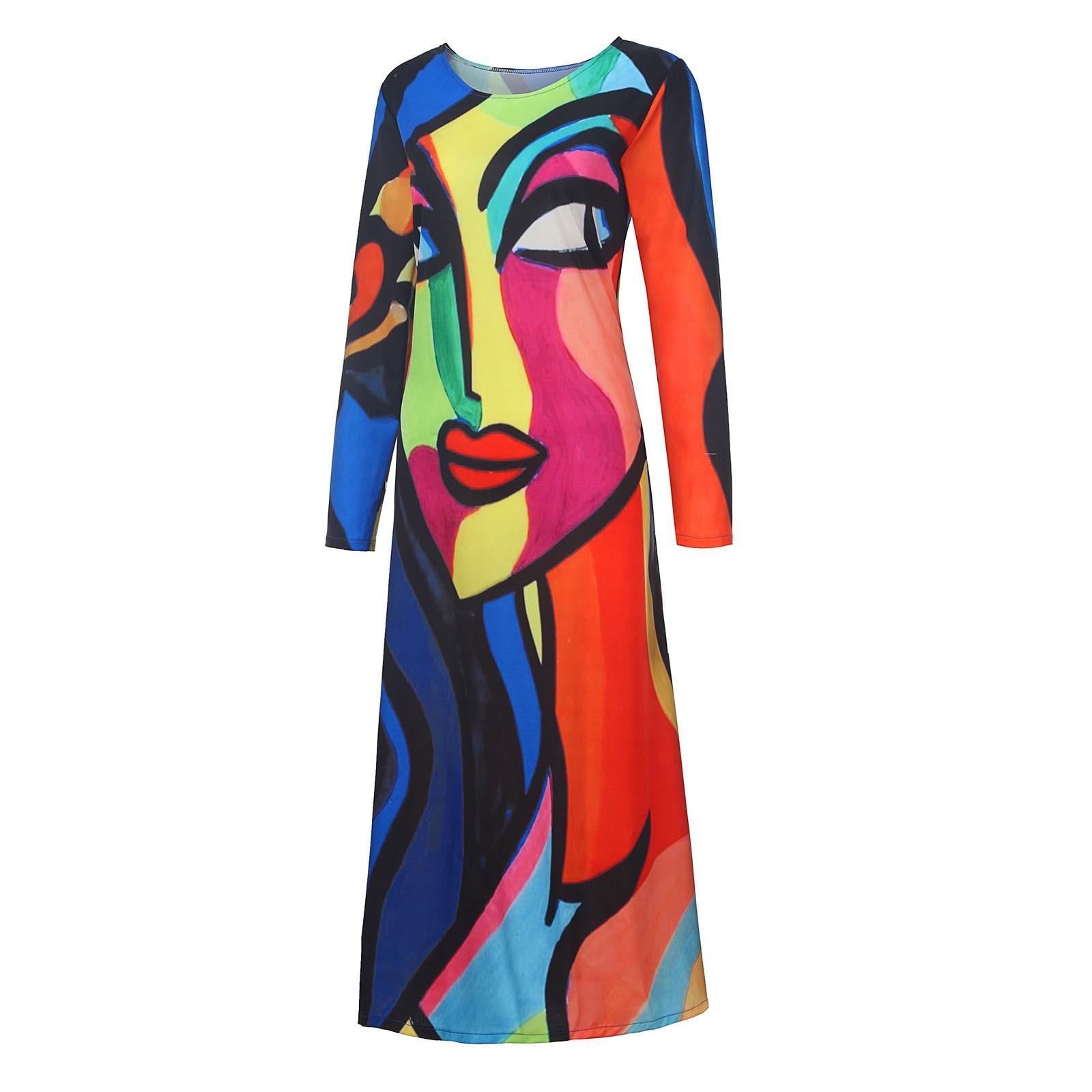 Elegant Abstract Girl Cartoon Printed Dress Women Vintage V Neck Long Party Dresses Casual Short Sleeve