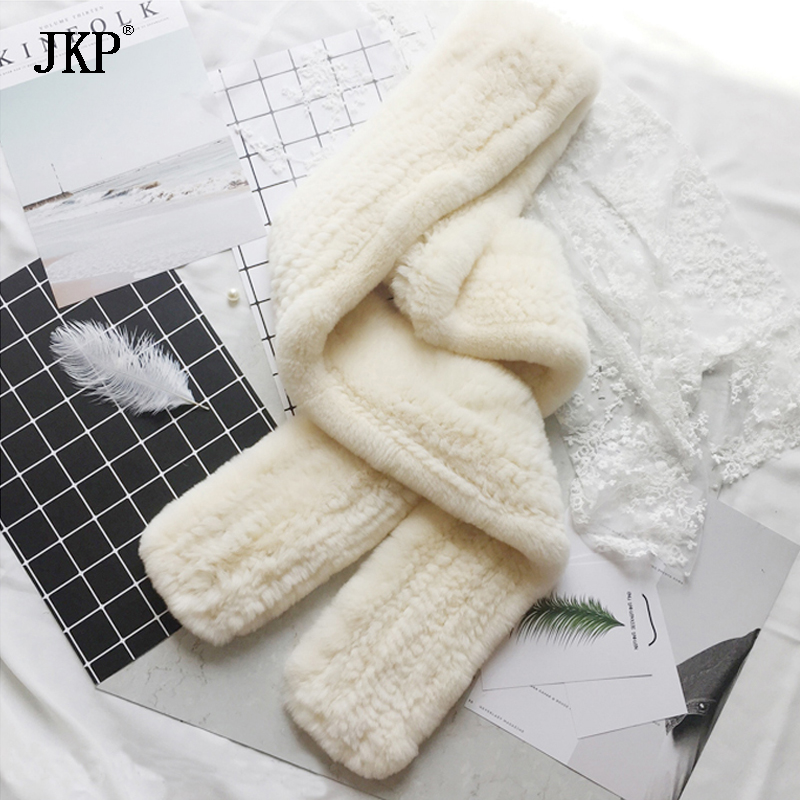 JKP 2019 Real Rex Rabbit Fur Scarves for Women Winter Weaving Natural Rabbit Fur Collar Warm High Quality Scarves
