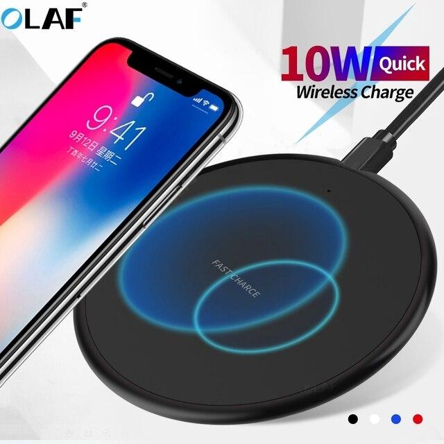 Caricabatterie Wireless veloce 10W per iphone 11 8 Plus Qi Pad di ricarica Wireless per Samsung S10 Huawei P30 Pro adattatore per caricabatterie per telefono