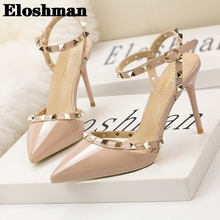 European and American Style Simple Sexy Club Stilettos Sandals Female Tip Rivet Hollow Field with