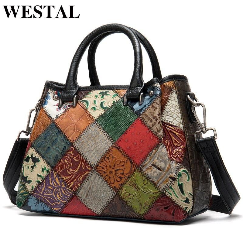 WESTAL Women's Genuine Leather Handbag Large Bag For Women's Shoulder Bags Patchwork Designer Leather Bag Women Totes Bags 203