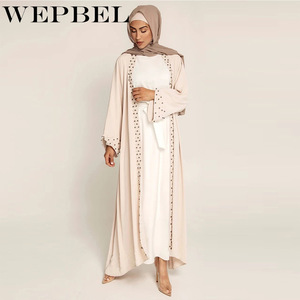 WEPBEL Muslim Maxi Cardigan Open Abaya Dress Women Long Sleeve Lace Applique Spring Coat Elegant Ladies Outwear with Beads