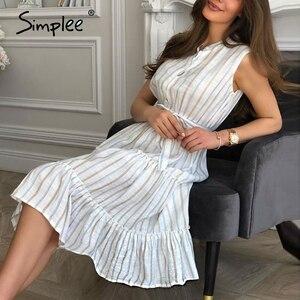 Image 2 - Простое Полосатое летнее платье для женщин, сексуальное, без рукавов, с поясом, однобортное, для пляжа, повседневное, с рюшами, свободное, макси платье