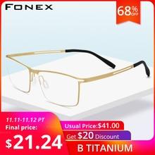 FONEX B Titanium Glasses Frame Men Semi Rimless Prescription Eyeglasses Ultralight Myopia Optical Frame Screwless Eyewear 874