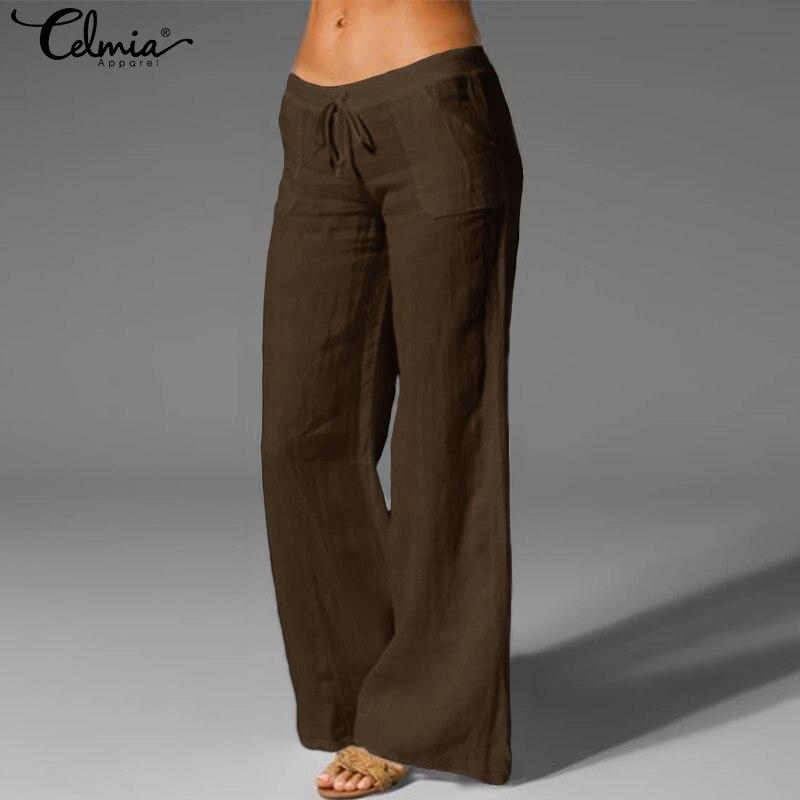 Vintage Pantalon Celmia 2019 Autumn Women Wide Leg Pants Elastic Waist Trousers Casual Loose Ladies Long Palazzo Plus Size S-5XL