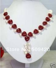 Free Wholesale>>>true white pearl and red stone heart necklace pendant(China)