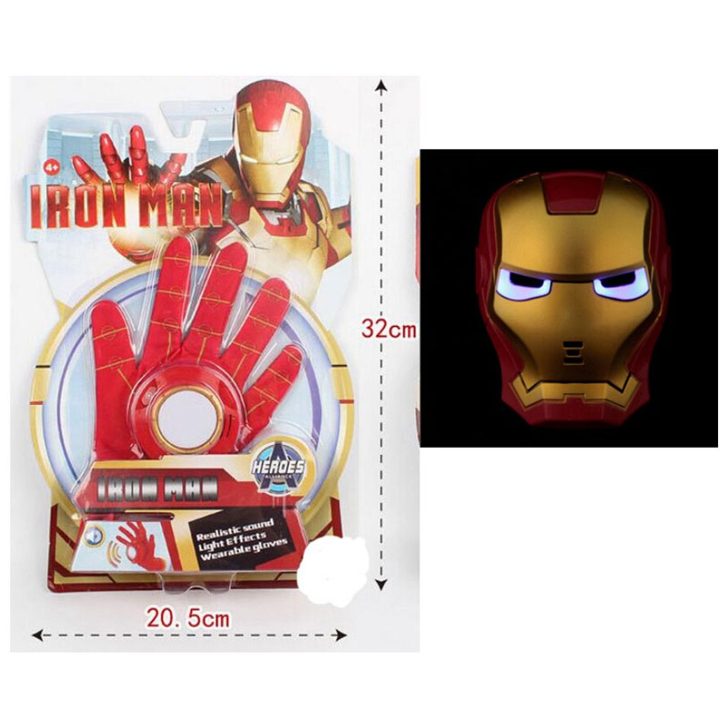 5 стилей ПВХ 24 см Бэтмен перчатка Фигурка Человека-паука пусковая игрушка для детей подходит Человек-паук косплей игрушки - Цвет: Ironman Launcher