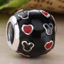 Original Enamel Mickey Mouse Love Heart Beads Fit 925 Sterling Silver Bead Charm Pandora Bracelet Bangle Diy Jewelry(China)