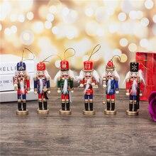 Рождественский подарок на год 1 шт. 12 см Щелкунчик мини деревянные солдаты группа кукла Рождественская игрушка подвеска настольное украшение, Q