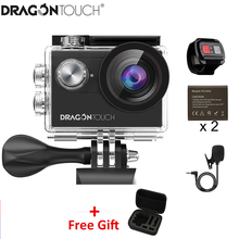 Dragon Touch Action Camera Vision 4 4K EIS 16MP Support External Mic Underwater Camera with WiFi Remote Control Sports Camera soocoo c30r sports action camera wifi 4k gyro adjustable viewing angles 70 170 degrees ntk96660 with remote control