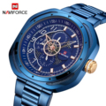 2019, синие кварцевые мужские часы, Топ бренд, роскошные NAVIFORCE, креативные квадратные часы для мужчин, стальной ремешок, календарь, деловые нар...