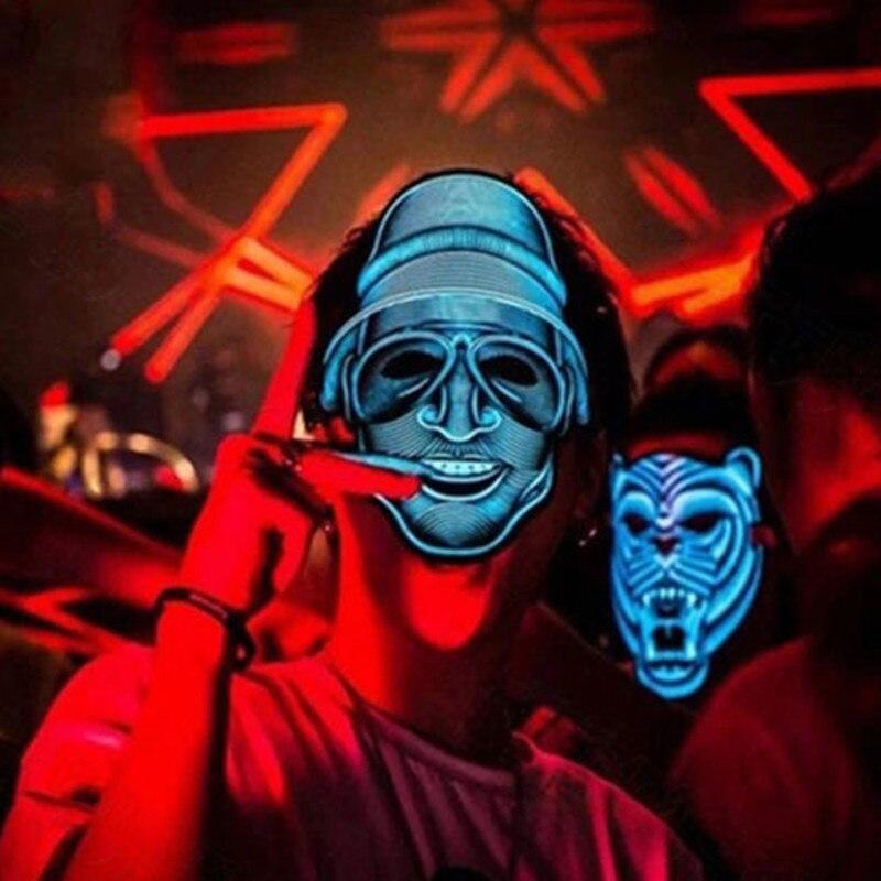 Halloween Maske LED Licht Up Party Masken Festival Cosplay Kost m Liefert Zucker Sch del Mascara