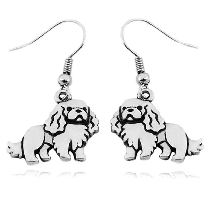 Hand-Painted Novelty Laser Cut Animals Stud earrings Cavalier King Charles Spaniel Dog Wood Earrings