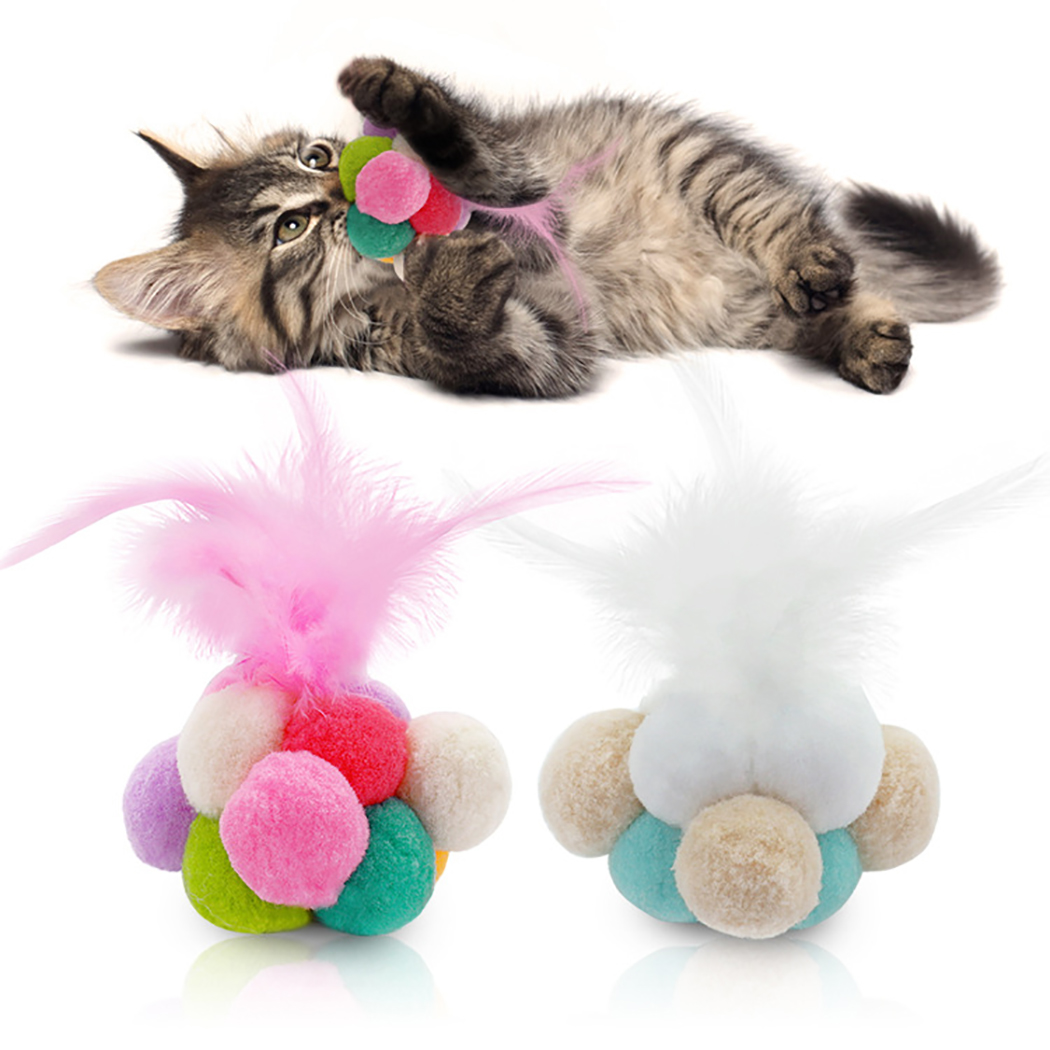 Legendog 1Pc Funny Cat Toys Fashion Creative Cute Plush Ball Faux Feather Bell Cat Chew Toy Pet Toy Cat Supplies