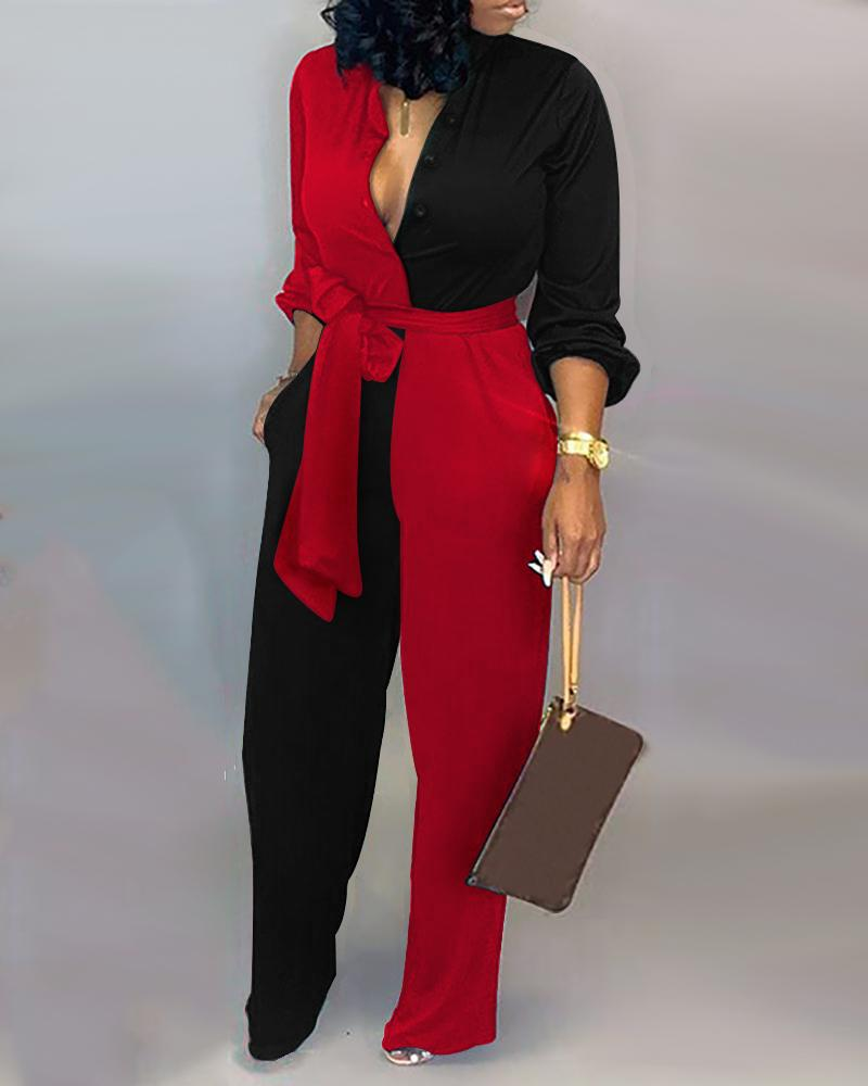 Satin Jumpsuit Colorblock Insert Buttoned Lantern Sleeve Jumpsuits Women Long Sleeves Patchwork Outfits