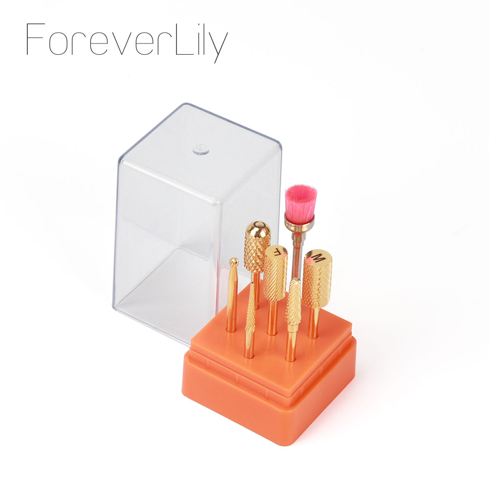 Foreverlily 7pcs/set tungsten steel carbide cermaic nail drill bit kits milling cutter sets electric drill pedicure machine toolNail Art Equipment   -