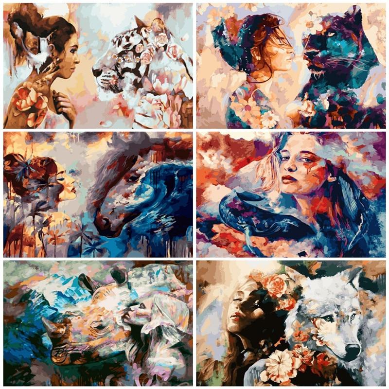 AZQSD DIY  numbrite järgi maalimine / maalimiskomplekt. Teema: naine ja metsloom. 17 erinevat pilti. 50x40cm ilma raamita
