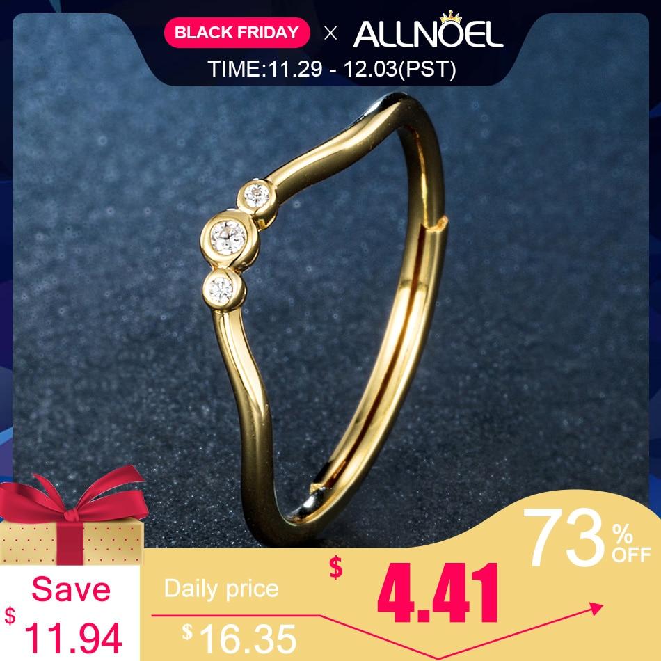 ALLNOEL Women 925 Sterling Silver Rings  Black White Zircon Diamond Adjustable Rings 14K Gold Fine Jewelry