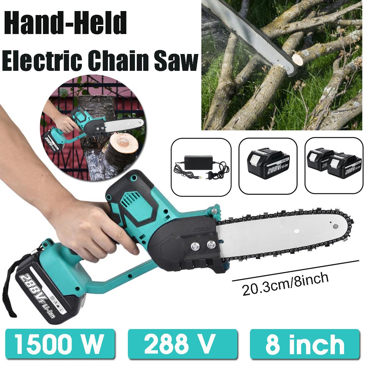 288V 1500W Electric Saw Chainsaw 8 inch Rechargeable Wood Cutter Brushless Motor Woodworking Power Tool with 2 Batteries