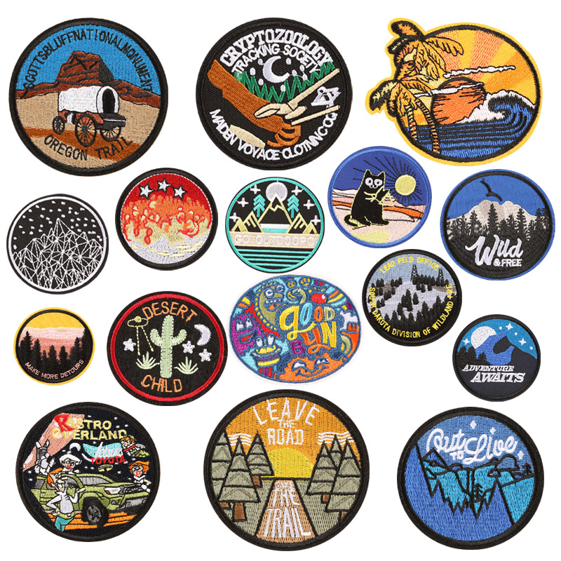 Cartoon The Trail High Quality outdoor Embroidered Iron on patches For clothing country patch Badges Stickers Garment wholesale(China)