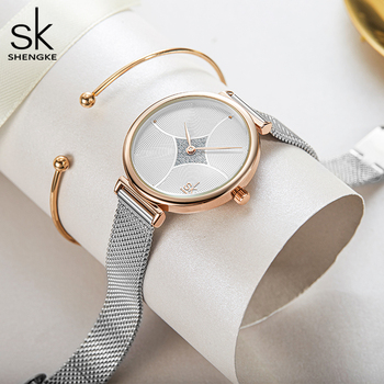 Серебристые женские кварцевые часы Shengke