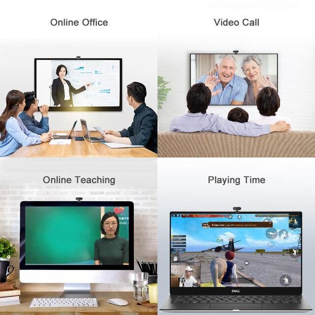 Webcam 1080p completo hd câmera web com microfone usb plug webcam para computador portátil mac desktop youtube skype mini câmera 6