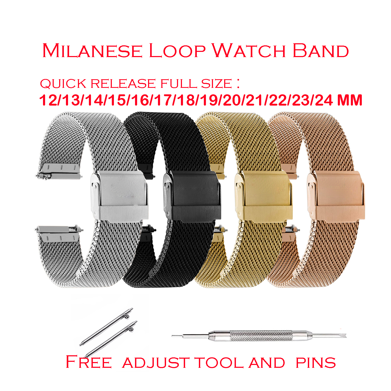 Pulseira de relógio de malha para seiko para dw relógio pulseira milanesa 12 13 14 15 16 17 18 19 20 21 22 23 24mm relógio de aço feminino masculino cinta ferramentas