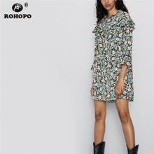 ROHOPO White iris Floral Ruffled Collar Flared Long Sleeve Straight Drtess Blue FLoral Ladies Holidaty Loose Vestido #9782 blue floral print flared long pants