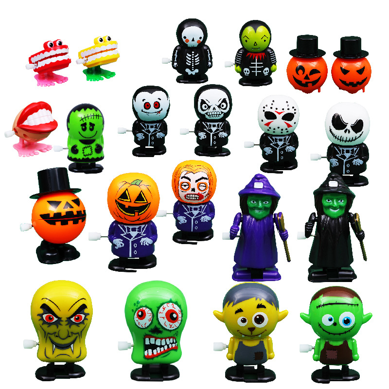 Halloween Chain Clockwork Toy Ghost Frankenstein Vampire Capsule Funny Joke Prank Wind Up Jumping Walking Toys Kid Gifts JM305