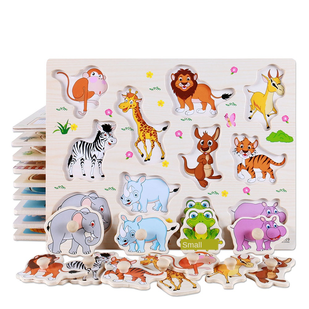 Baby Learning Toy Montessori Wooden Jigsaw Clutch Board Early Learning Toy Cartoon Car / Sea Animal Puzzle Children's Favorite