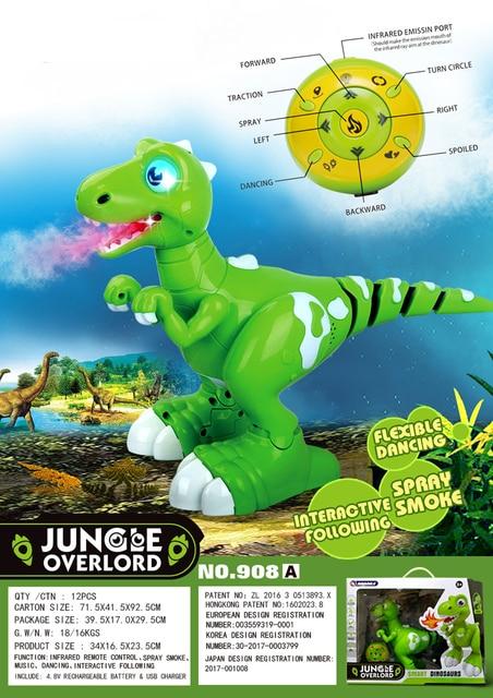 Dinossauro robô brinquedos interativos robô de controle remoto robótico spary dinossauro multifuncional música dança brinquedos rádio controlado