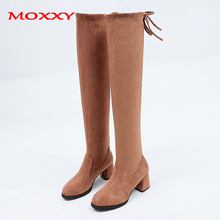 2019 New Sexy Stretch Thigh High Boots Women Shoes Black Brown Over The Knee Boots Suede Bow High Heel Boots Long Autumn Winter stretch autumn winter over the knee boots women black shell head thick bottom flat platform shoes thigh high boots long boots