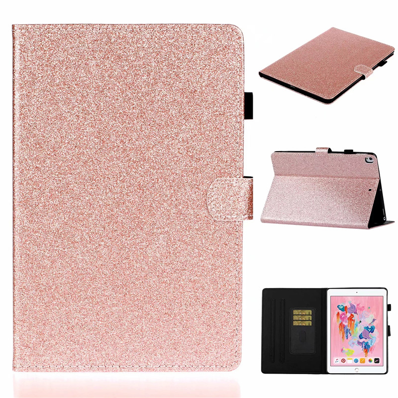 For iPad 7th generation case Bling Glitter Flip Wallet Stand Tablet Cover For Apple iPad 10