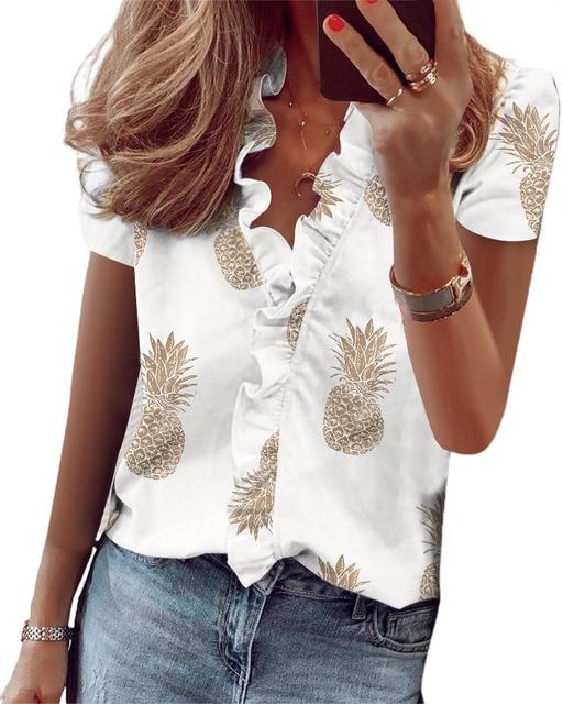 Hirigin 2020 Fashion Summer Ladies Temperament Flouncing Short Sleeve Blouse Sweet Printing Solid Top Casual Shirt Clothing 5