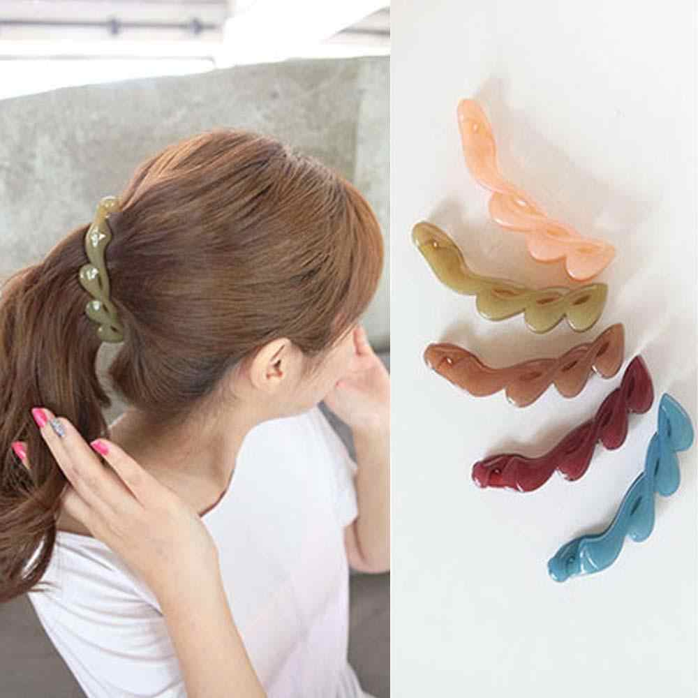 Vertical Women Fashion Headwear Crystal Hair Clip Banana Clip Ponytail Hairpin