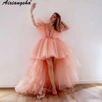 Vestido de noche de tul rosa, cuello de pico, manga corta