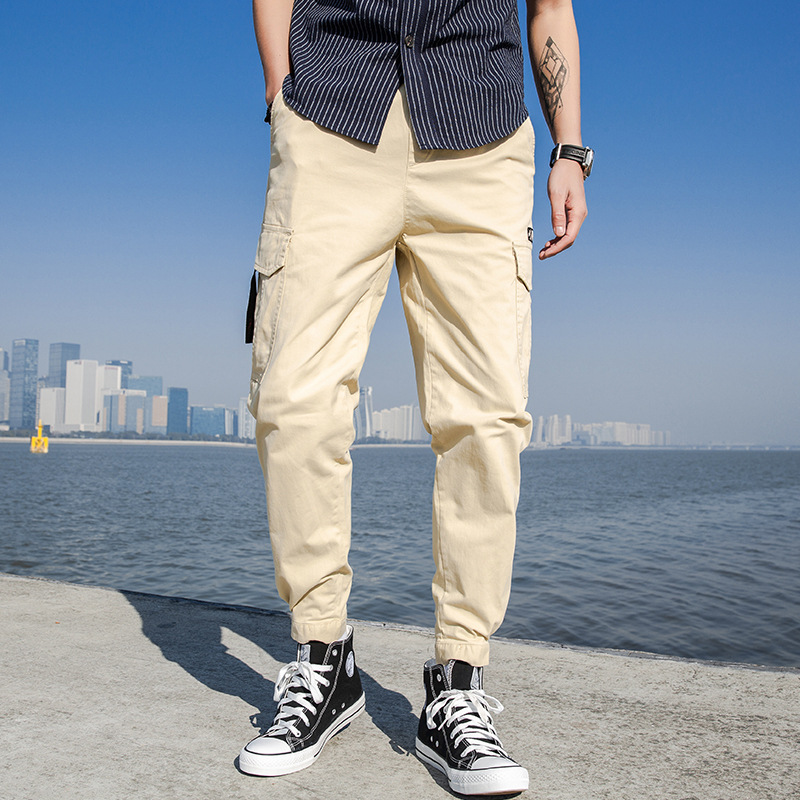 Workwear Casual Pants 2019 Spring New Products Solid Color Students Versatile Bib Overall Men's Velcro Beam Leg Duo Kou Dai Ku