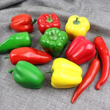 1pc Plastic Green Bell Pepper Props Fake Vegetables Fruits Kids Toys Wedding Party Kitchen Table Photography Props Decor Crafts