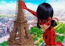 Coccinella della torre Eiffel della città di parigi sfondo per bambini sfondo per feste di compleanno stampato al Computer di alta qualità