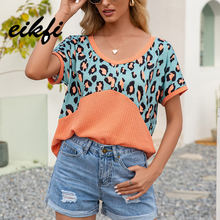EIKFI Leopard Print Patched Rib-knit Women T-shirts Summer Ladies Sexy V Neck Short Sleeve Backless Casual Tops and Shirts New