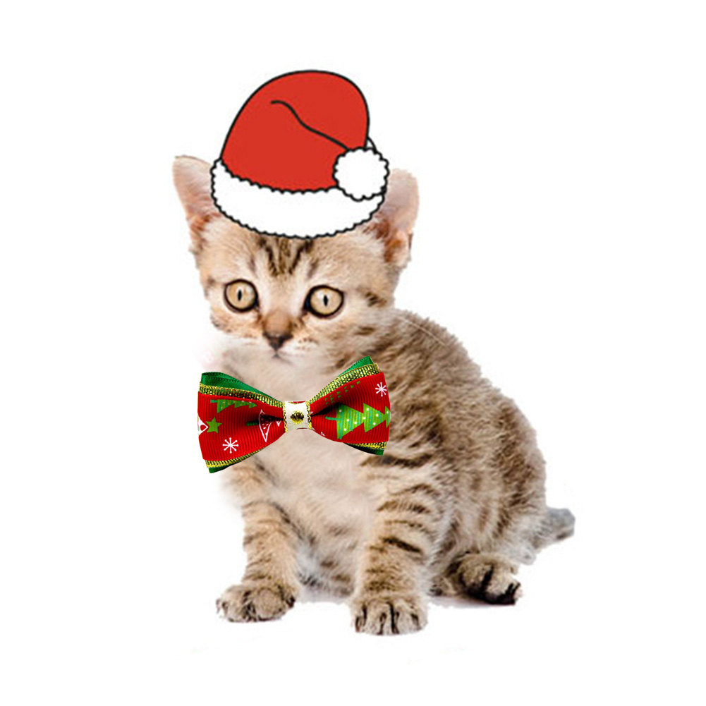 10pcs Christmas Holiday Pet Cat Dog Collar Bow Tie Adjustable Neck Strap Grooming Accessories