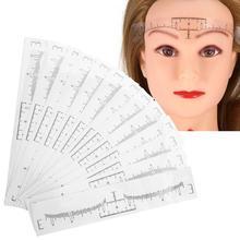 50 adet tek kullanımlık kaş cetvel Sticker kaş şekillendirme aracı kaş dövme makyaj ölçüm Stencil şablon Microblading